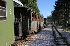 Vieux chariot de train dans la station Image stock