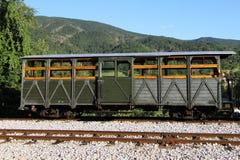 Vieux chariot de train dans la station Image libre de droits