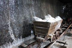 Vieux chariot utilisé pour transporter le sel en Salina Turda Turda Salt Mine images libres de droits