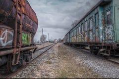 Vieux chariots de train Images libres de droits