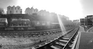 Vieux chariots de train chez Bristol Harbourside Images stock