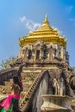 Vieux chedi d'éléphant avec la pagoda supérieure d'or chez Wat Chiang Man ou Wat Chiang Mun, le temple le plus ancien en Chiang M photo stock