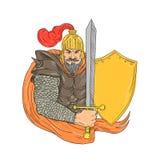 Vieux chevalier Sword Shield Drawing Photo libre de droits