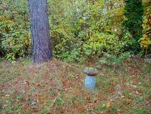 Vieux chiffre concret pour le jardin Grand champignon de couche photo libre de droits