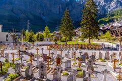 Vieux cimetière chrétien, Leukerbad, Leuk, Visp, Wallis, Valais, S images stock