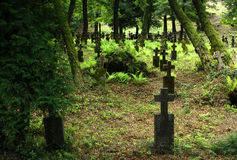 Vieux cimetière dans Khust, Ukraine Photo stock