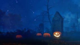 Vieux cimetière effrayant la nuit mystique Halloween illustration stock