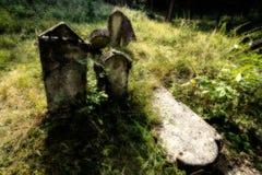 Vieux cimetière juif abandonné Illustration brouillée d'effet illustration stock