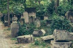 Vieux cimetière juif historique à Wroclaw, Pologne Fond pour la conception et le texte de Halloween photographie stock libre de droits