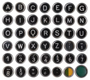 Vieux clés, alphabet et nombres de machine à écrire Photos stock