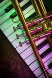 Vieux clavier de piano de trompette photographie stock libre de droits