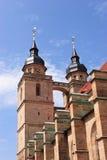 Vieux clocher d'église de ville de Bayreuth Photographie stock