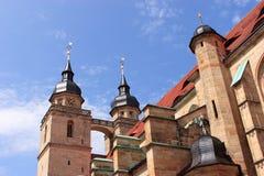 Vieux clocher d'église de ville de Bayreuth Photo stock