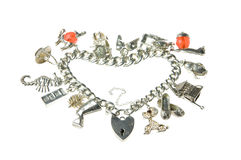 Vieux coeur de bracelet de charme Photographie stock libre de droits