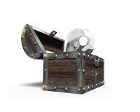 Vieux coffre au trésor ouvert avec l'ampoule à l'intérieur, rendu 3D Image stock