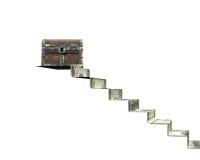 Vieux coffre au trésor sur des escaliers d'argent, rendu 3D Photo stock