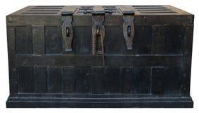 Vieux coffre-fort de fer de coffre au trésor de pirate de vintage photographie stock libre de droits
