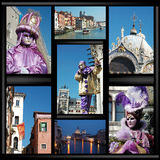 Vieux collage de Venise avec des masques images stock