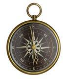 Vieux compas antique en laiton avec le visage foncé d'isolement illustration stock