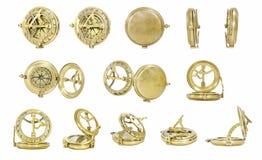 Vieux compas d'or Photos libres de droits