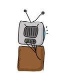 vieux conception d'icône d'isolement de TV par dessin Photographie stock libre de droits
