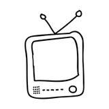 vieux conception d'icône d'isolement de TV par dessin Image libre de droits