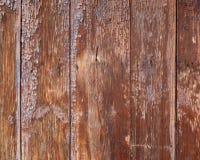Vieux conseils en bois avec des traces des peintures brunes là-dessus Photographie stock