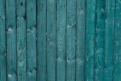 Vieux conseils en bois vert-foncé Milieux et barrière de textures peinte Front View Attirez le beau fond de vintage Photographie stock libre de droits
