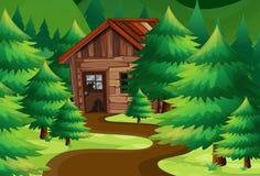 Vieux cottage en bois dans les bois illustration libre de droits