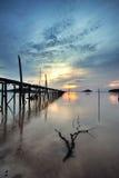 Vieux coucher du soleil de pont Photos stock