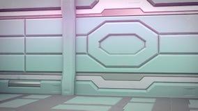 vieux couloir réaliste de la science fiction de vaisseau spatial, illustration 3D illustration libre de droits