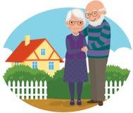 Vieux couples à leur maison illustration stock