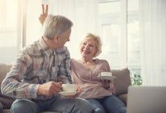 Vieux couples appréciant la boisson chaude Image stock