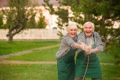 Vieux couples ayant l'amusement Photos stock