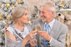 Vieux couples célébrant Noël Photos libres de droits