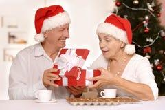 Vieux couples d'une manière amusante Photos libres de droits