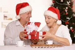 Vieux couples d'une manière amusante Photo libre de droits