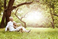 Vieux couples d'une manière amusante sur le pique-nique Image stock