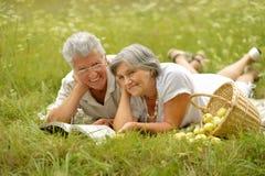 Vieux couples d'une manière amusante sur le pique-nique Photographie stock