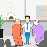 Vieux couples dans le bureau de banque, femme d'homme supérieur avec le sous-directeur illustration de vecteur