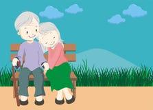 Vieux couples heureux Illustration Stock