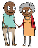 Vieux couples noirs heureux Image stock