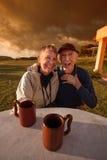 Vieux couples riants Image libre de droits