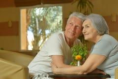 Vieux couples se reposant sur le sofa Photos libres de droits