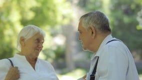 Vieux couples sourds-muets indiquant le goddbye entre eux en parc d'été banque de vidéos