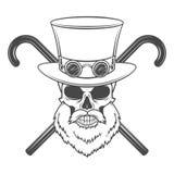 Vieux crâne barbu de monsieur de steampunk avec des lunettes Images libres de droits