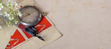 Vieux crayon lecteur de calligraphie photos stock