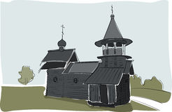 Vieux croquis d'aquarelle d'église Images libres de droits