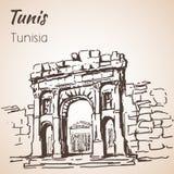 Vieux croquis d'architecture de la Tunisie Photo stock