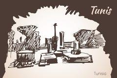 Vieux croquis d'architecture de la Tunisie Image stock